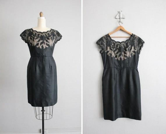 on hold - 1950s vintage illusion scallop sheath dress