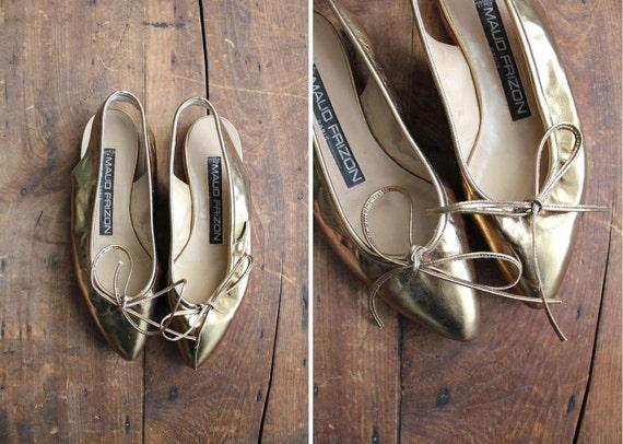 vintage Maud Frizon metallic gold leather flats / size 6