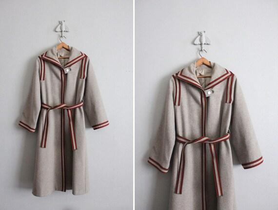 1970s vintage rugby trim gray wool coat