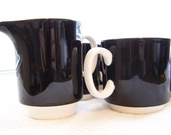 SALE - Vintage Onyx Ironstone Black and White Cups and Creamer Set