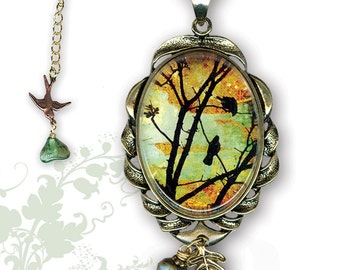 Birds in Tree - Glass Art Frame Jewelry - GeoForms Collection by Tzaddishop - Woodland Sunrise