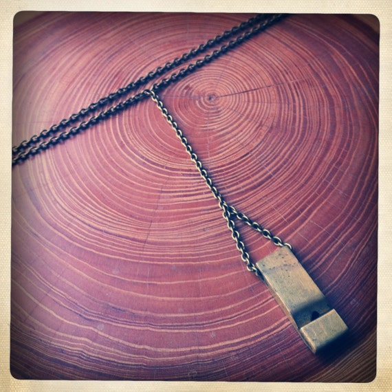 small whistle necklace - brass