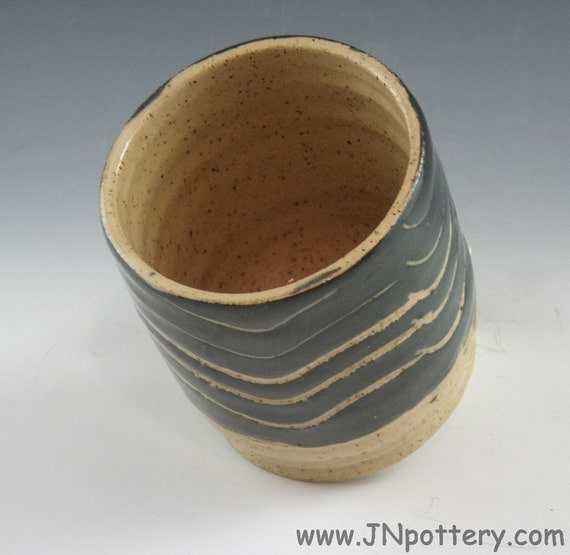 Ceramic Juice Cup / Handmade Stoneware Tumbler, Black and Speckle Tan   m120