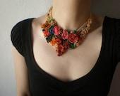 Buddleja Curviflora ... Freeform Beaded Crochet Necklace - Flowers - Red Pink Magenta Orange Blue Green -Beadwork Statement Bib