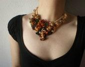 Buddleja Forrestii ... Freeform Beaded Crochet Necklace - Flowers - Brown Orange Cream Beige - Beadwork Statement Bib