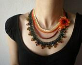 Tagetes Erecta ... Beaded Crochet Necklace - Flowers - Orange Red Burgundy White Yellow Green - Beadwork