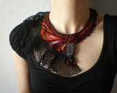 Tubastrea Tenuilamellosa ... Freeform Beaded Crochet Necklace - Black Red Burgundy Brown Green - Beadwork Statement Bib