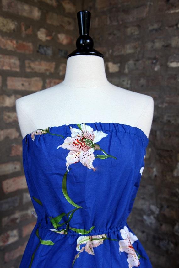 Vintage 70s Blue Floral Hawaiian Tube Dress