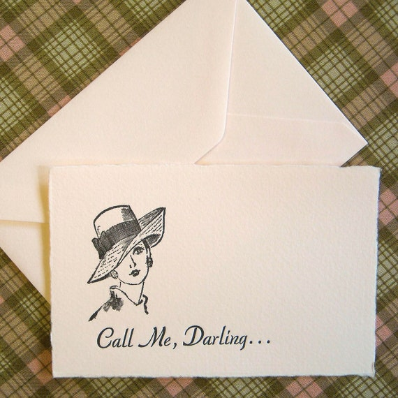 Letterpress  Card and Envelope - Single Card - Call Me, Darling...
