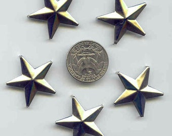"""25 Star Studs, 9/8"""" 29mm, 5 Prongs, Leather Crafting DIY Clothes Customize"""