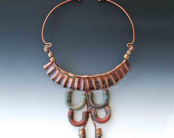 Artisan Eco Copper Necklace, Statement Necklace