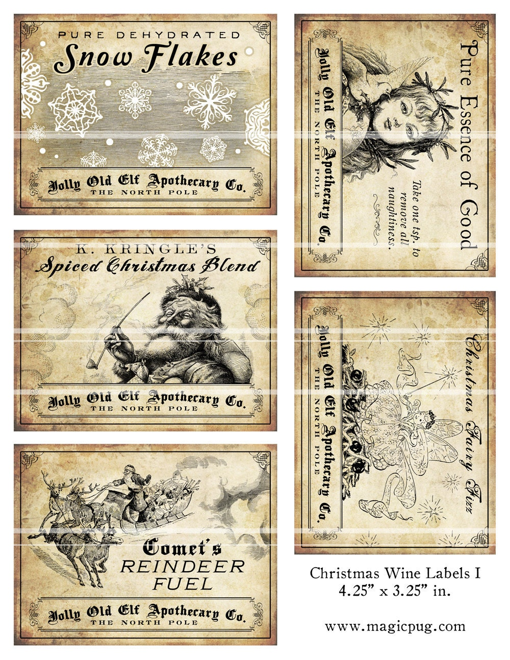 Antique Christmas Potion Wine Labels 4.25 x 3.25 by magicpug