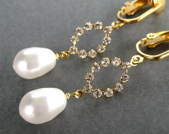 Rhinestone Oval Clip On Earrings, White Pearl Drops, Gold Ear Clips, Sparkling Bride