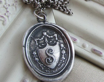 Wax Seal Monogram Initial S Antique Crest- in fine silver - Antique Victorian Wax Seal Jewelry