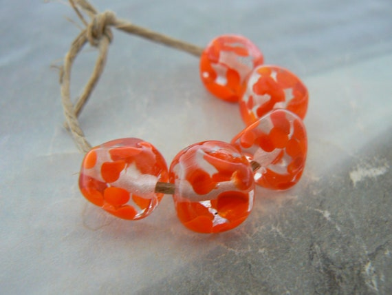 Orangina Glass Nugget  Beads... Handmade Lampwork
