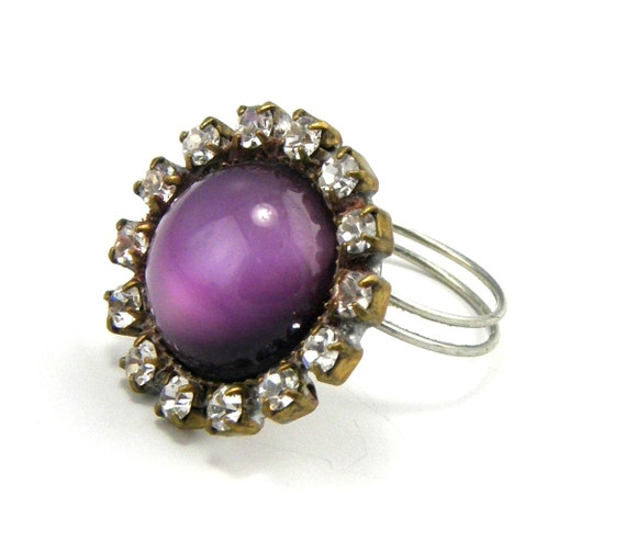 Rhinestone Wire Wrapped Button Ring Cocktail Purple Cyber Monday Black Friday