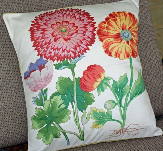 Pillow Cover Handmade Vintage Botanical Print Gorgeous Slight Sheen Fits 14 to 16 Inch Pillow Insert