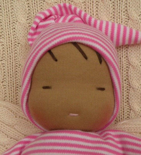 waldorf inspired doll-toddler doll-pink stripes