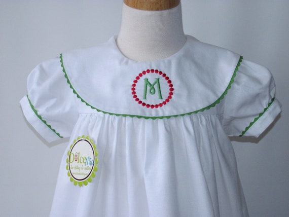Monogrammed dresses Christmas girl, toddler, babies, Monogrammed  red and green trim, FREE Monogramming sz 5T and 6T