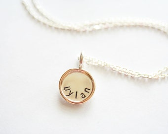 1/2 inch Personalized Sterling Silver Pendant with Gold Filled Rim x2 - Custom Hand Stamped Necklace with Stamping on BOTH Sides
