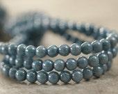 Denim Blue Czech Glass 4mm Round Druk Bead : 50 pc 4mm Round Blue Bead
