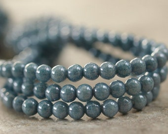 Denim Blue Czech Glass 4mm Round Druk Bead : 50 pc