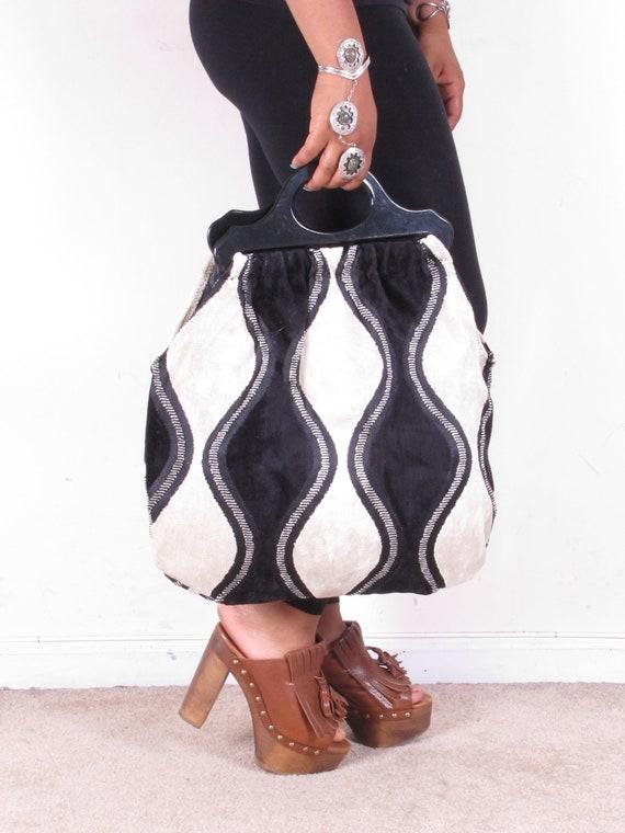 Large Handmade Chenille Upholestered Fabric Tote Shopping Handbag
