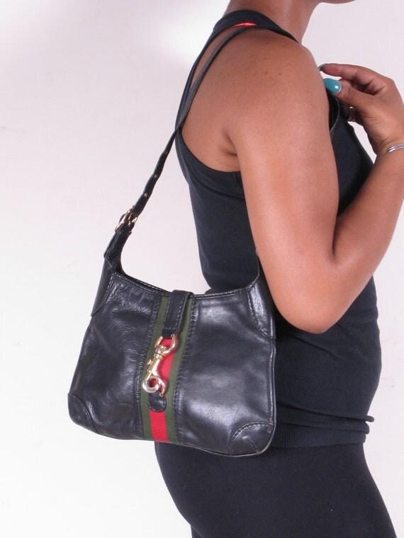 Vintage Black Leather Red Green Stripe Shoulder Bag