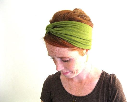 Turban Twist Headband - Head Wrap - Olive Green