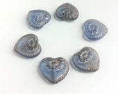 Blue w Gold Flower Inlay Hearts Victorian Romantic Glass Beads