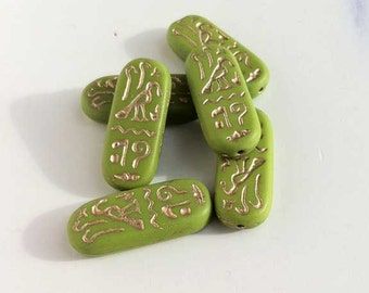 Green Rectangle Tile Glass Beads Egyptian Hieroglyphics Cartouche
