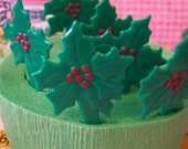 Holiday / Holly Leaves / Cupcake Pick Toppers / One Dozen