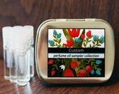 CUSTOM 6 Perfume Oil Samples in a Metal Tin - you choose any 6 fragrances