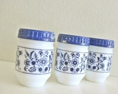3 Vintage Milkglass Jars Spice Containers Floral Blue and White Lot