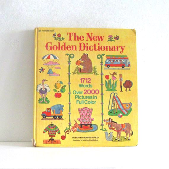 Vintage Childrens Book New Golden Dictionary Pictionary