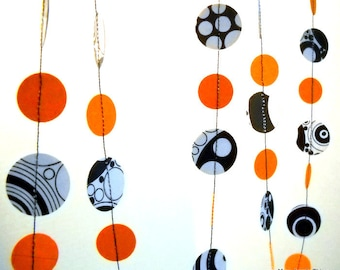 Halloween Decorations Orange and Black and White Paper Garland OOAK