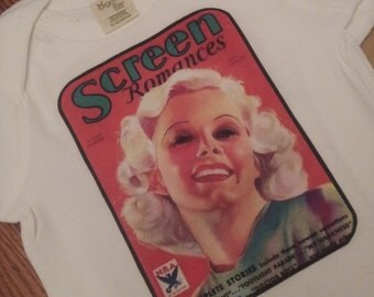 Jean Harlow vintage magazine cover onesie or  t-shirt
