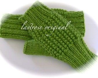 Fingerless Gloves/Mittens, Ladies', Teens', Hand Knit, Fern Green, Medium