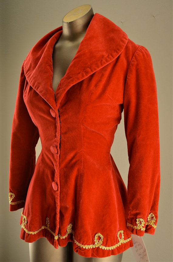 Red  peplum jacket / Vintage band jacket / Adorable holiday top