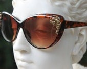 Vintage Style Jewelry Sunglasses - Modern Cat Eye with Angel Accents-Brown Frames