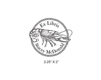 Lobster and Rope Border Ex Libris Bookplate Rubber Stamp L15