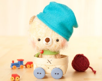 Amigurumi bear plush toy - made to order - Magu with hat -