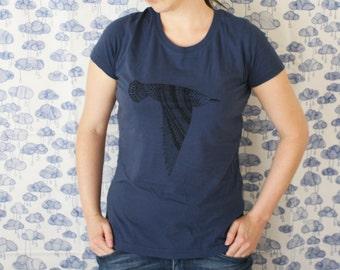 Seabird - Womens Screenprinted Tshirt - Black on Blue