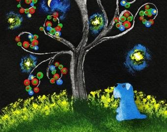 Schnauzer Dog folk art PRINT of Todd Young painting LIFE