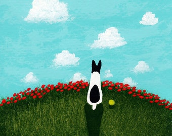 Rat Terrier Dog Folk art print by Todd Young painting Red Poppies