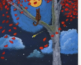 Bengal Orange Tabby Cat Folk art PRINT of Todd Young painting Shooting Star