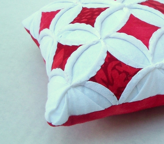 Pincushion Red Miniature Cathedral Window Pillow - 5 Inches Square