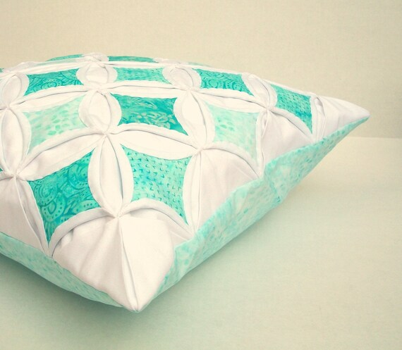 Decorative Pillow Cover Aqua Turquoise Cathedral Window Batik 18 Inch