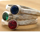 Custom sterling silver rings,  ruby, emerald, sapphire rings - Your Size