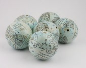 Robin Egg Blue Ceramic Bead with Original Graphics